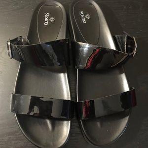 Black Faux Patent Slip On Straps Buckle Sandals